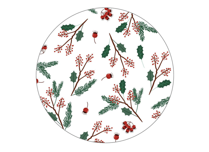 190mm printed cake topper with a Christmas holly pattern