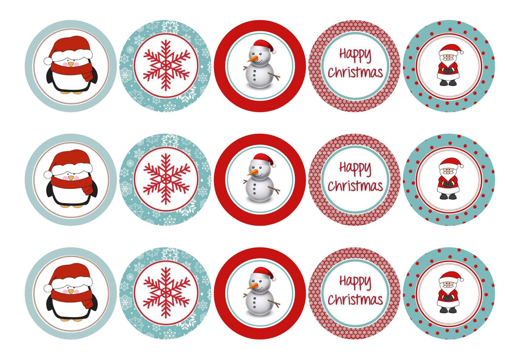 Edible Christmas cake toppers and cupcake toppers printed onto rice paper or icing