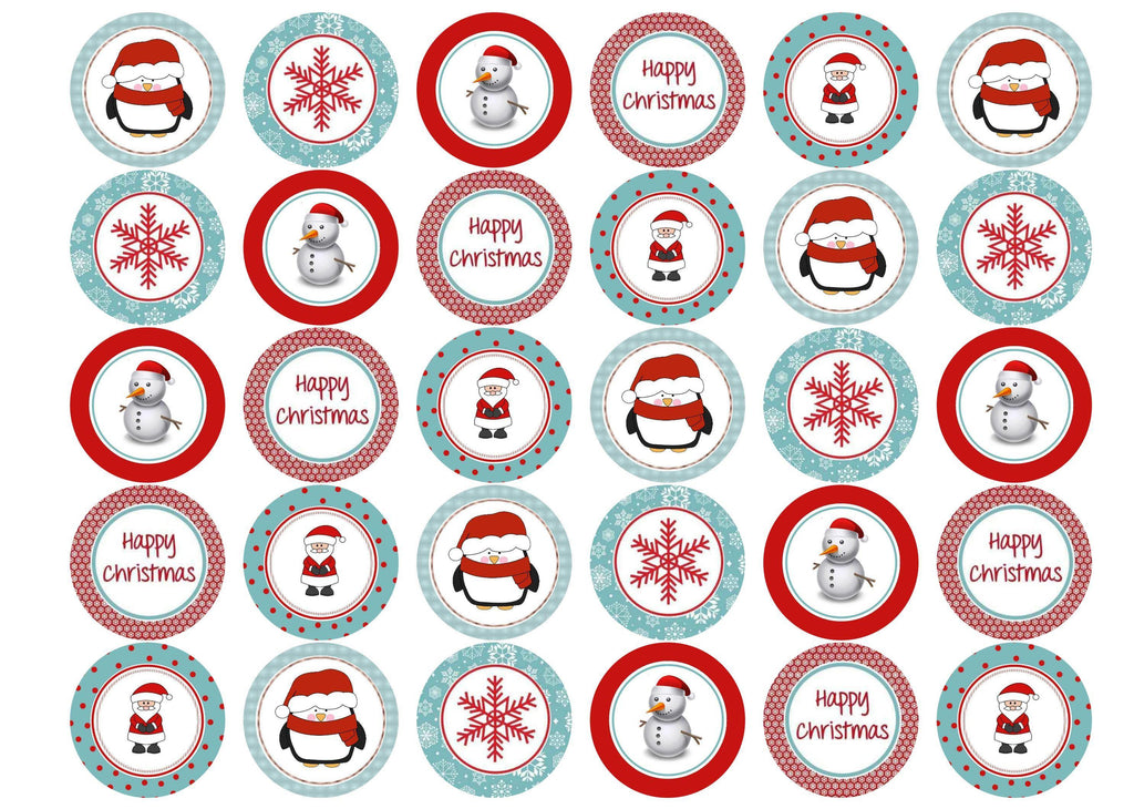 Printed Christmas cupcake toppers and cupcake toppers printed onto rice paper or icing