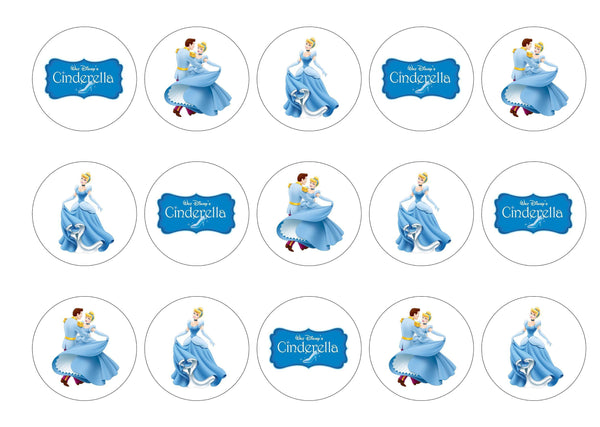 Printed edible cupcake toppers with Cinderella