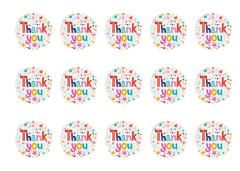 Printed edible cupcake toppers - colourful thank you