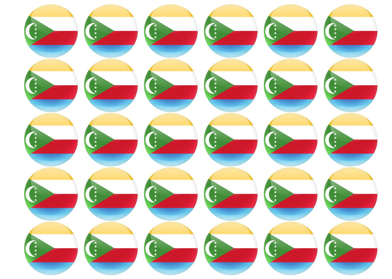 38mm printed edible cupcake toppers - Comoros