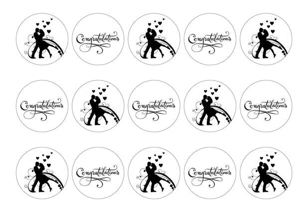 Printed cupcake toppers - engagement
