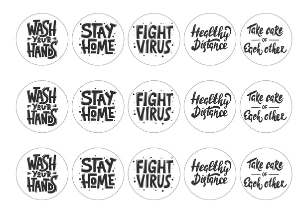 15 printed toppers with Coronavirus guidance slogans
