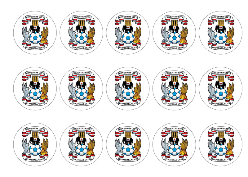 15 printed cupcake toppers with the Coventry City badge