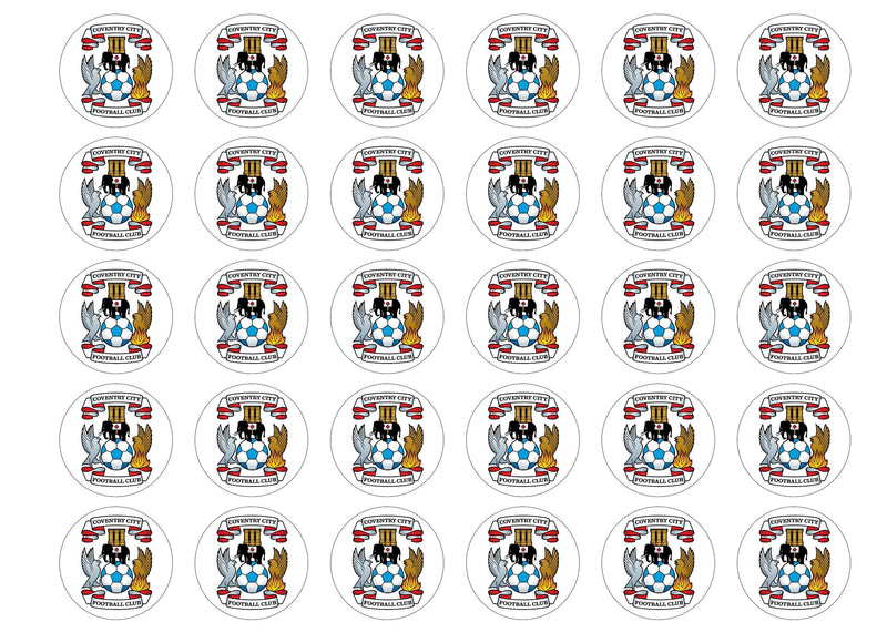 30 edible cupcake toppers with the Coventry City badge
