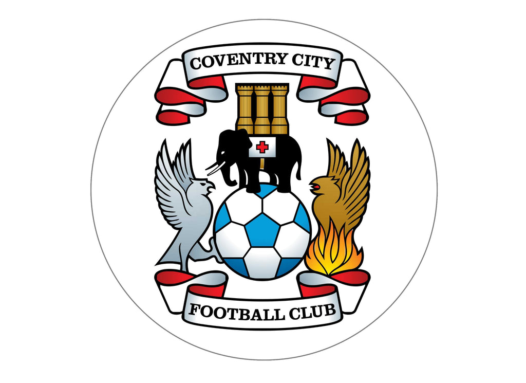 large cake topper with the Coventry City badge