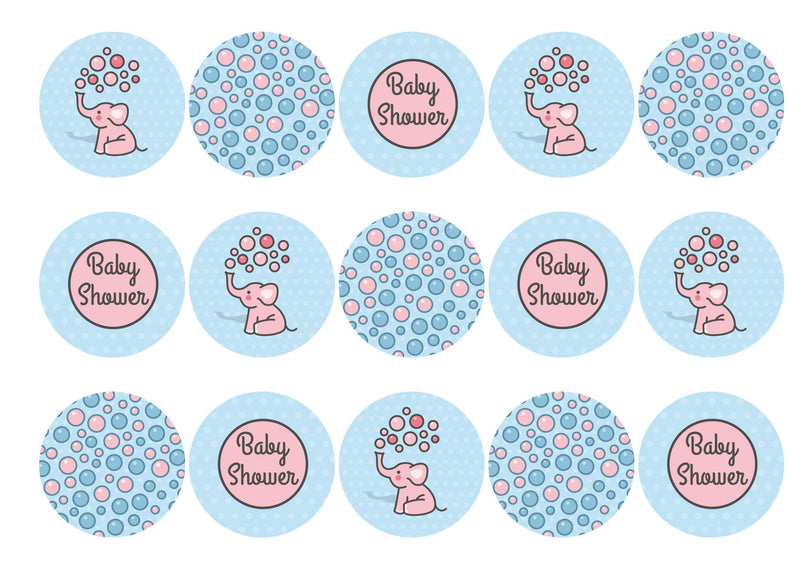 15 printed cupcake toppers with cute baby elephants for a baby shower