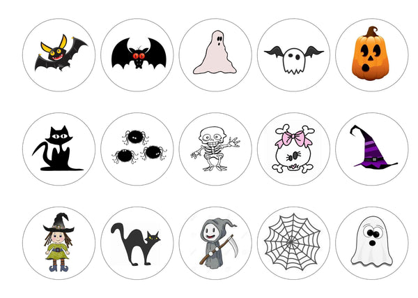 Printed cupcake toppers with cute Halloween pictures