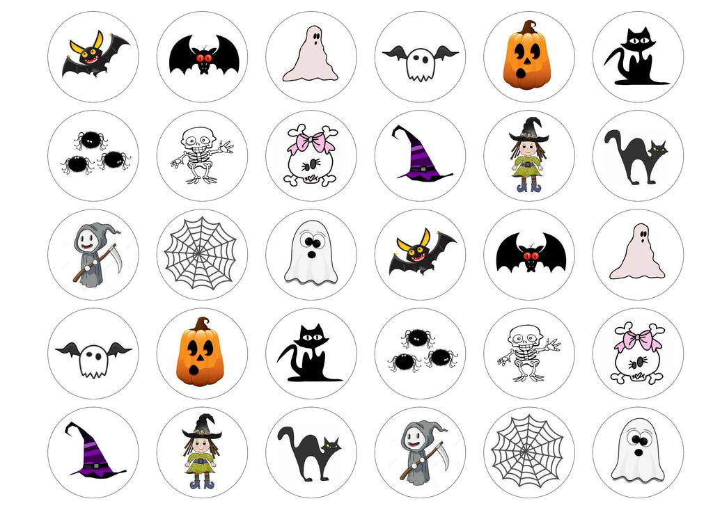 Printed edible cupcake toppers for halloween