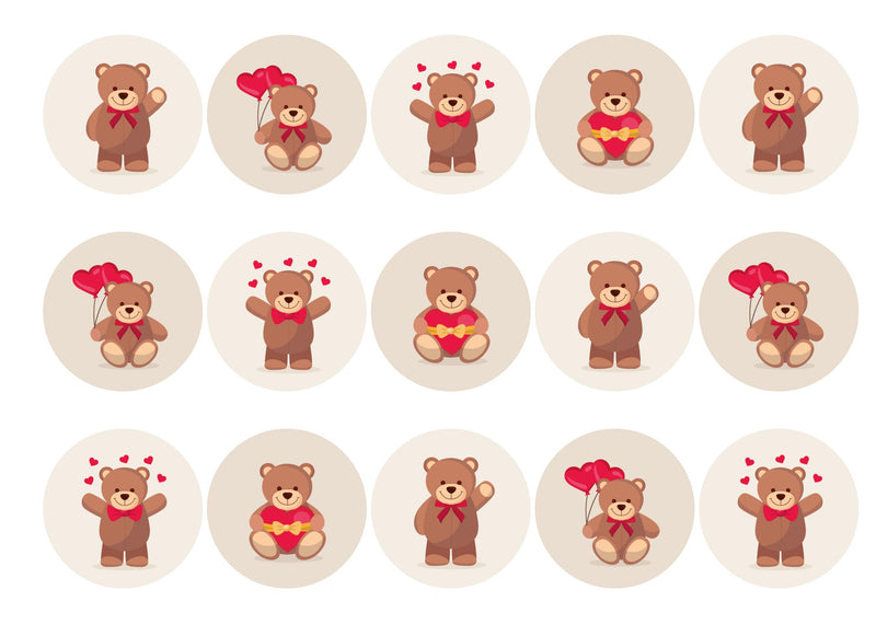 15 toppers printed with teddy bear designs for valentines day