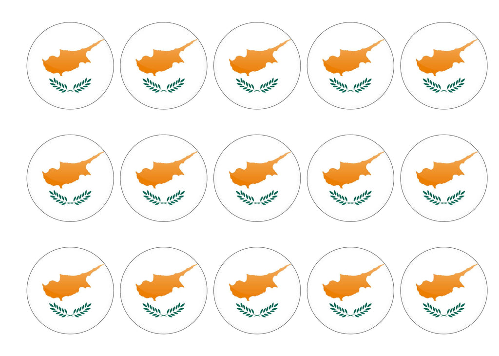 50 x 50mm printed edible cupcake toppers - Cyprus