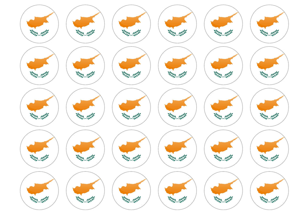 38mm printed edible cupcake toppers - Cyprus