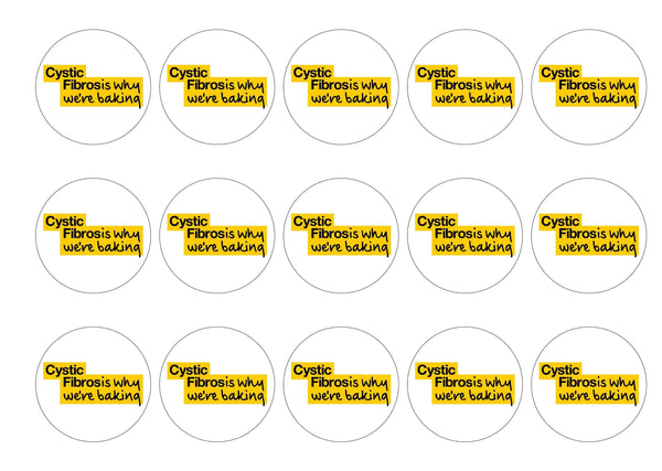 15 printed edible charity cake toppers with the Cystic Fibrosis Trust Why We're Baking logo