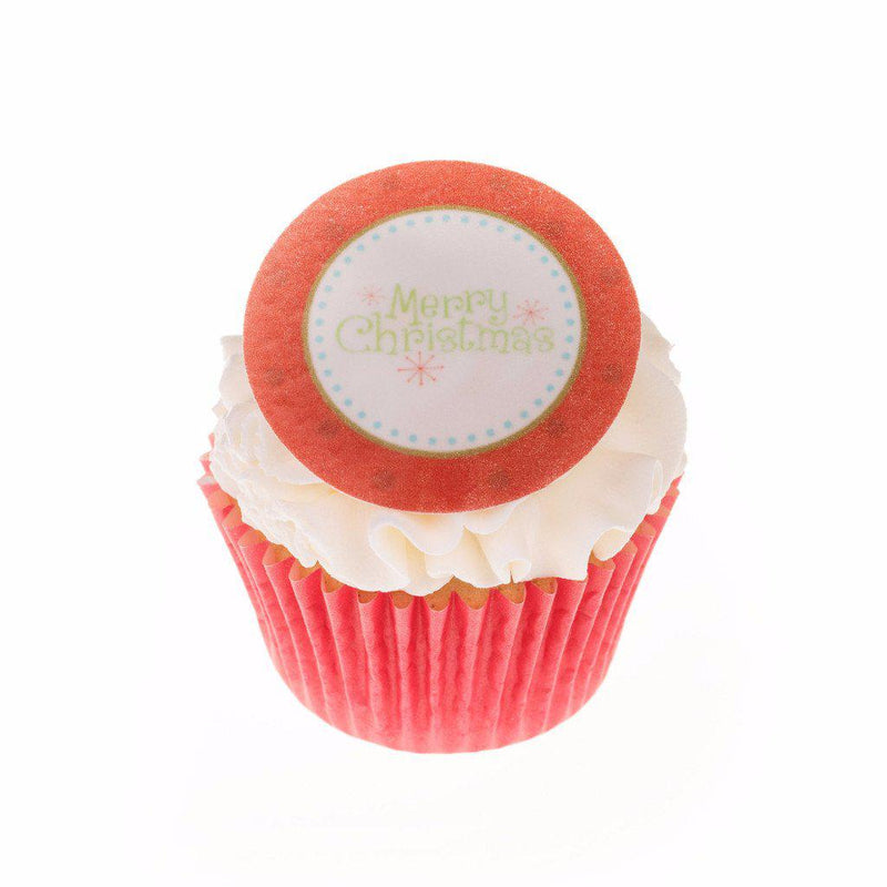 Edible Christmas Merry Christmas cake topper and cupcake topper printed onto rice paper or icing