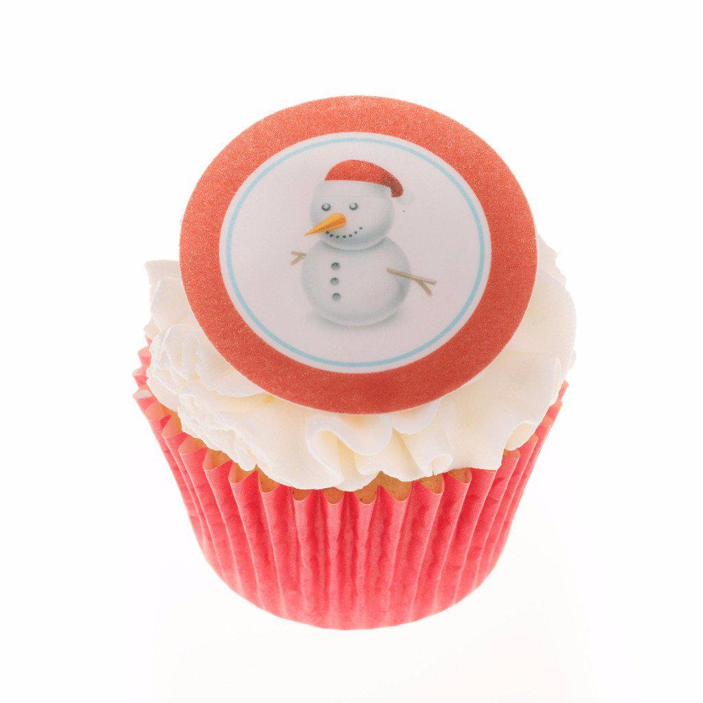 Printed Snowman Christmas cake toppers and cupcake toppers printed onto rice paper or icing