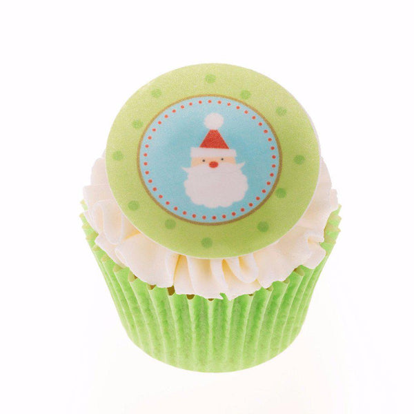 Edible Christmas Santa cake topper and cupcake topper printed onto rice paper or icing