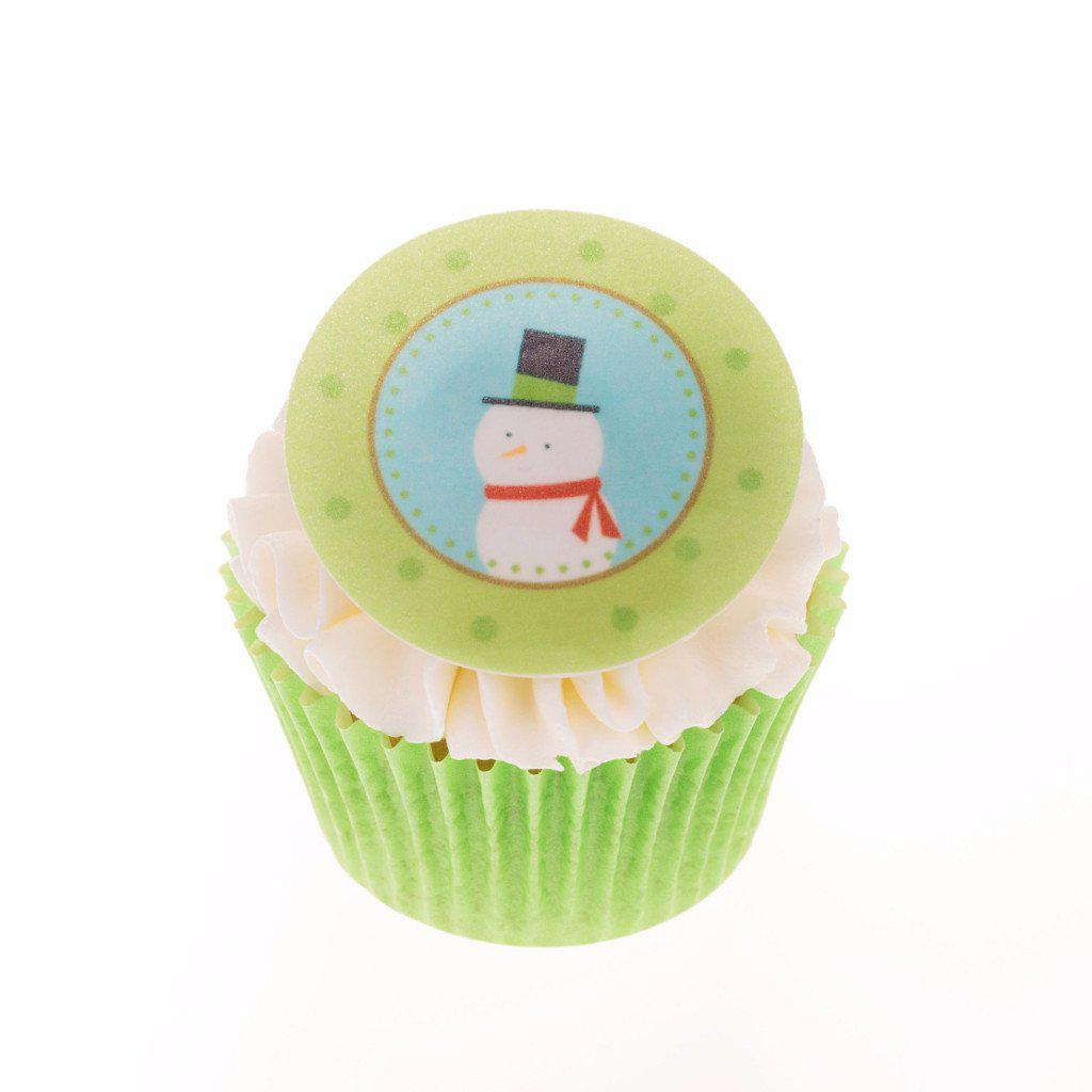 Edible Christmas Snowman cake topper and cupcake topper printed onto rice paper or icing