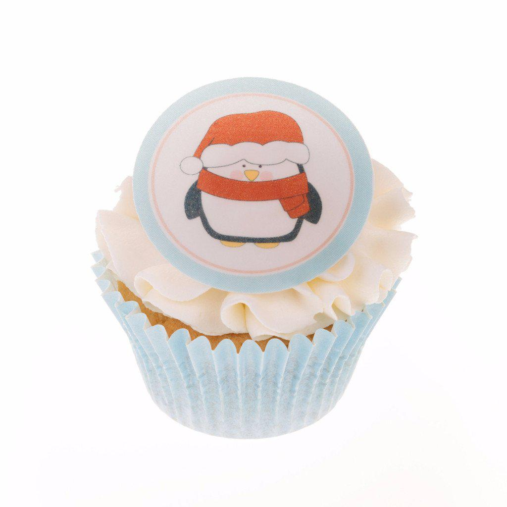 Edible Christmas Penguin cake toppers and cupcake toppers printed onto rice paper or icing