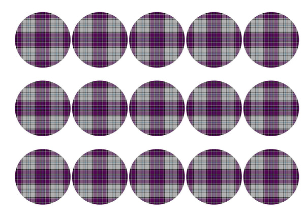 Printed edible cupcake toppers with dark purple tartan