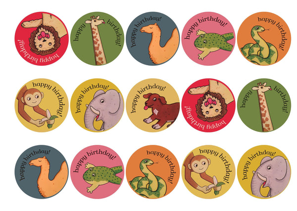 Printed cupcake toppers with images from Dear Zoo