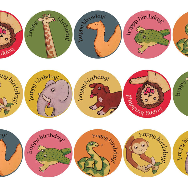 """Sheet of 15 Monkey Edible Icing Cupcake Toppers PRE-CUT 2/"""""""