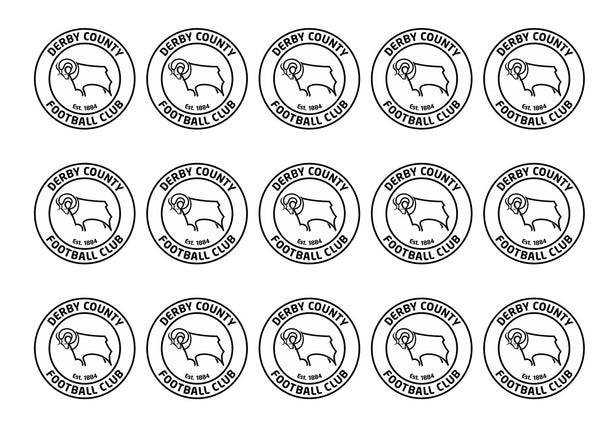 15 printed cupcake toppers with the Derby County Badge
