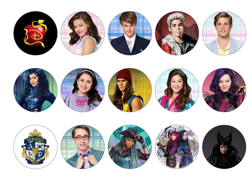 Printed cupcake toppers with images from Disney Descendants