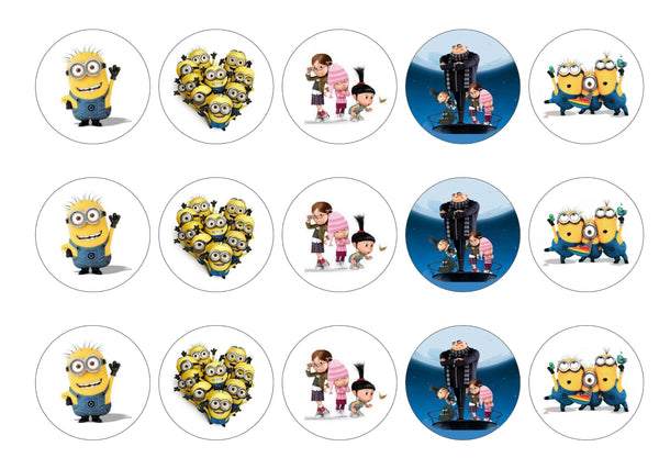 Printed edible cupcake toppers with images from Despicable Me