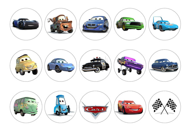 Printed edible cupcake toppers with pictures of Disney Cars