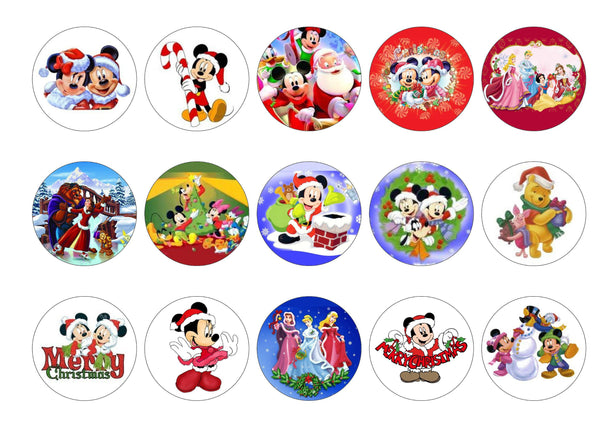 Edible Christmas cupcake toppers and cake toppers with Disney images printed on rice paper or icing