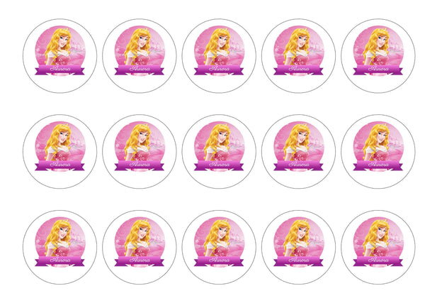 "Printed edible cupcake toppers and cake toppers with Aurora from the Disney Film ""Sleeping Beauty"""