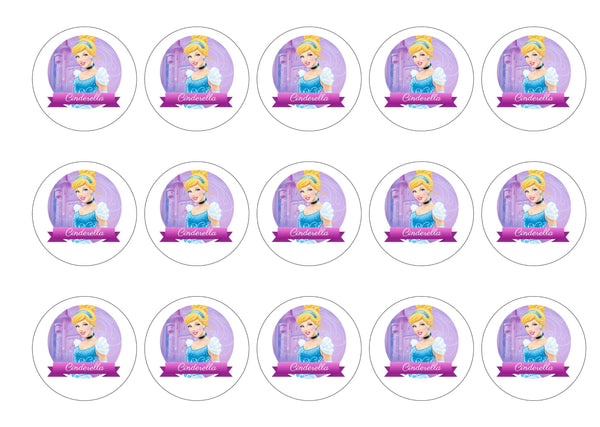 Printed edible cupcake toppers with Disney Princes Cinderella
