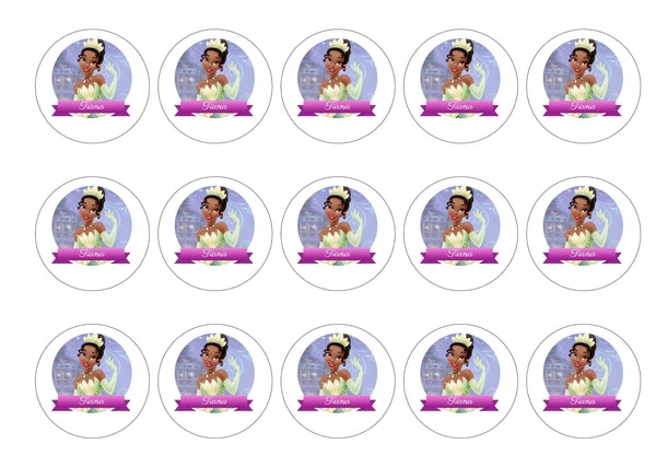 Edible printed cupcake toppers with Disney Princess Tiana