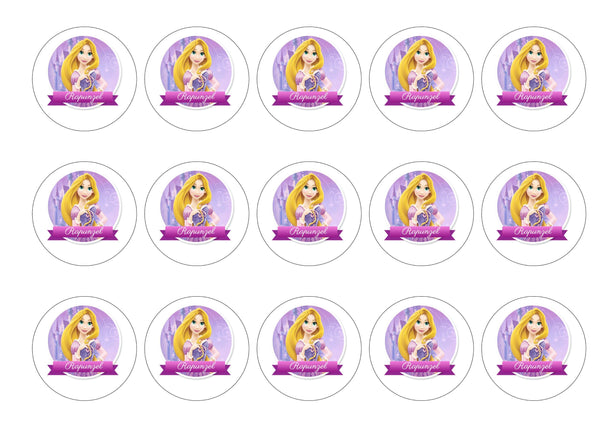 Printed edible cupcake toppers with Rapunzel
