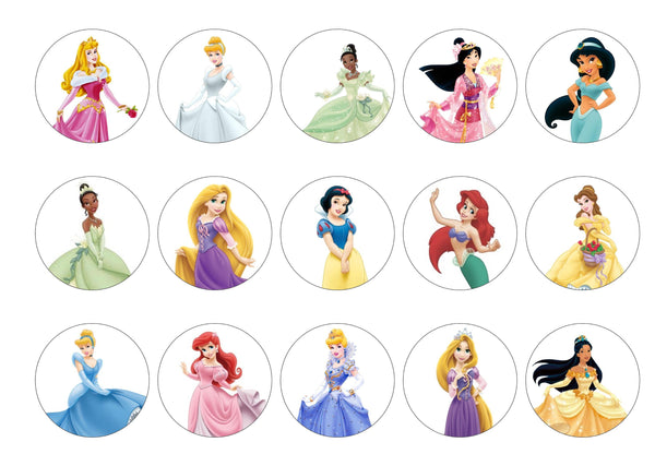 Edible printed cupcake toppers with Disney Princesses