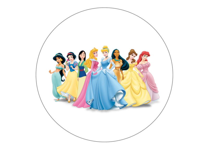 "7.5"" Edible printed cake topper with Disney Princesses"