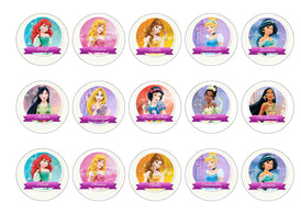 Printed edible cupcake toppers with Disney Princesses