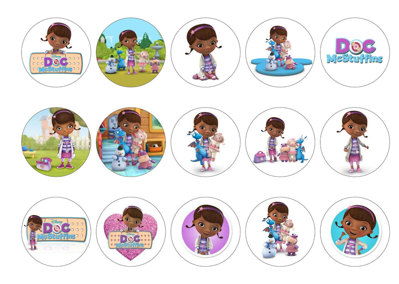 15 printed cupcake toppers with images from Doc McStuffins