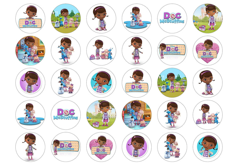 30 edible cupcake toppers with images from Doc McStuffins