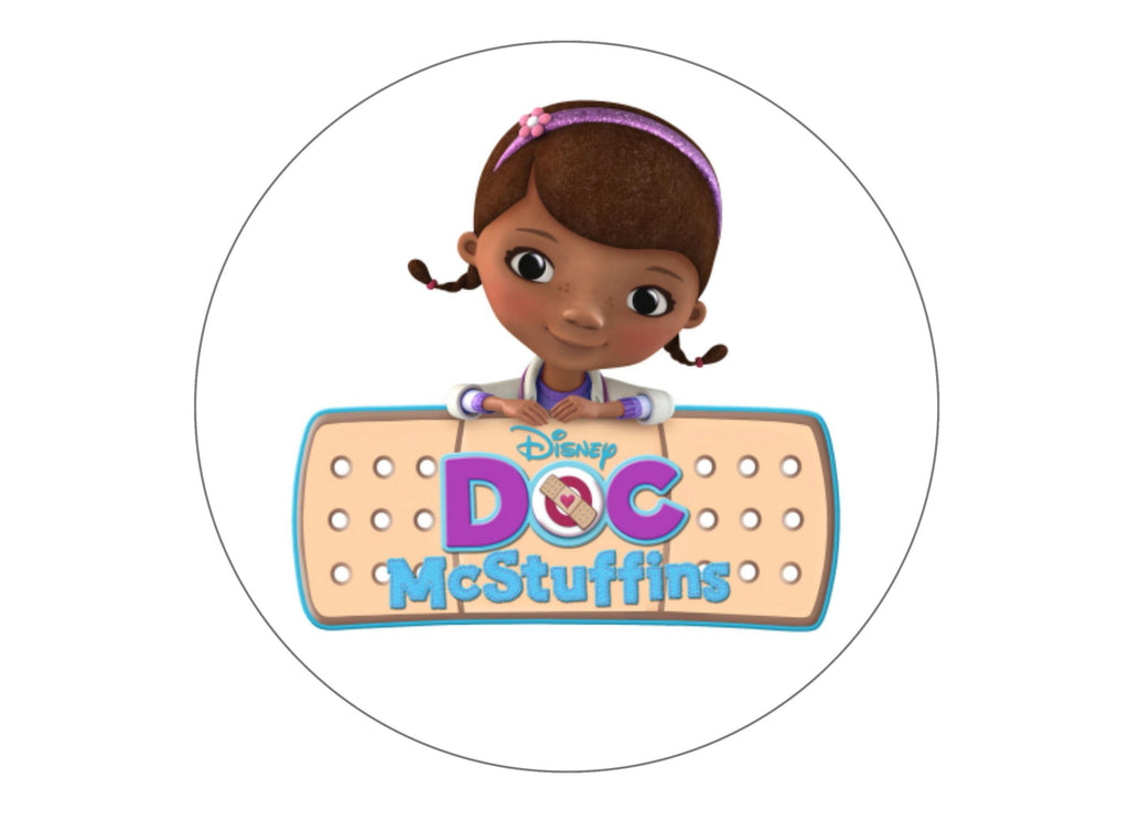Large cake topper with images from Doc McStuffins