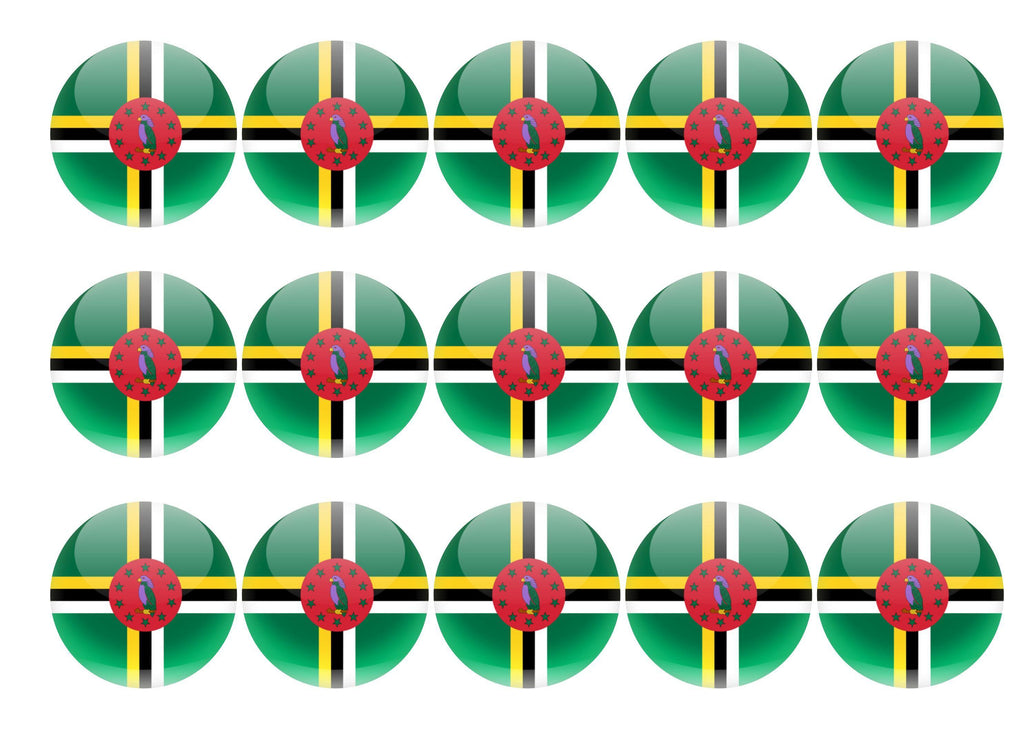 15 x 50mm printed edible cupcake toppers - Dominica