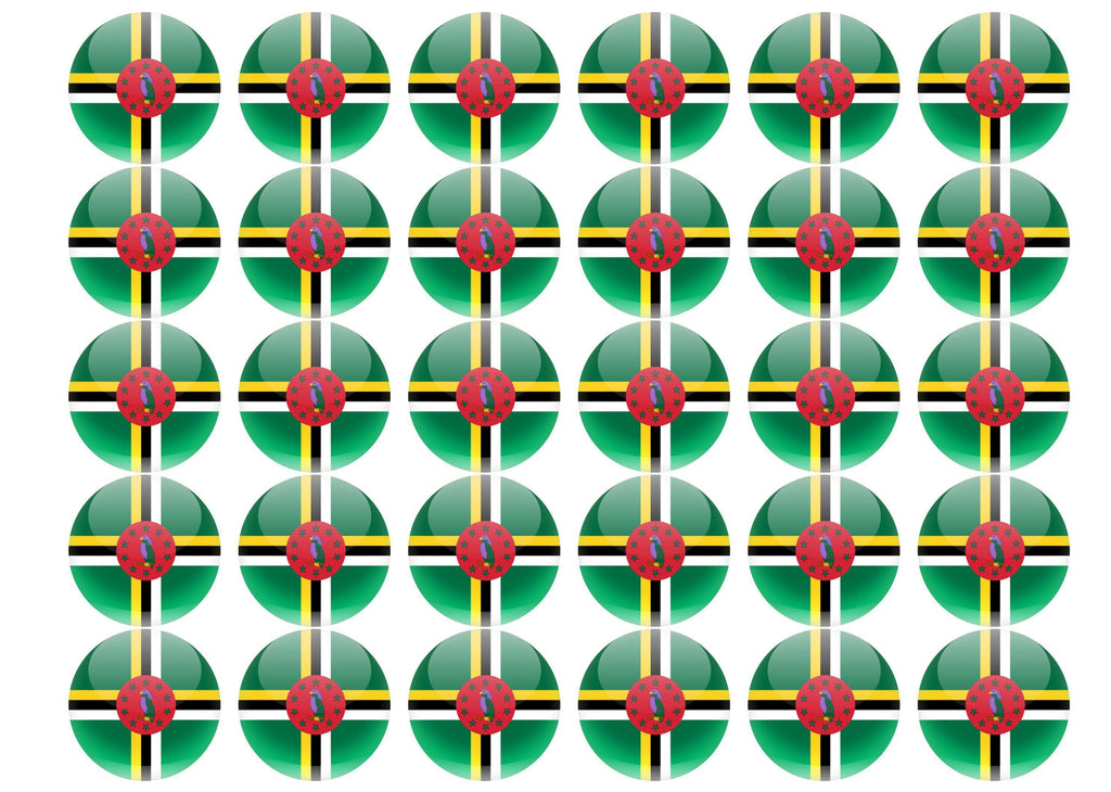 38mm printed edible cupcake toppers - Dominica