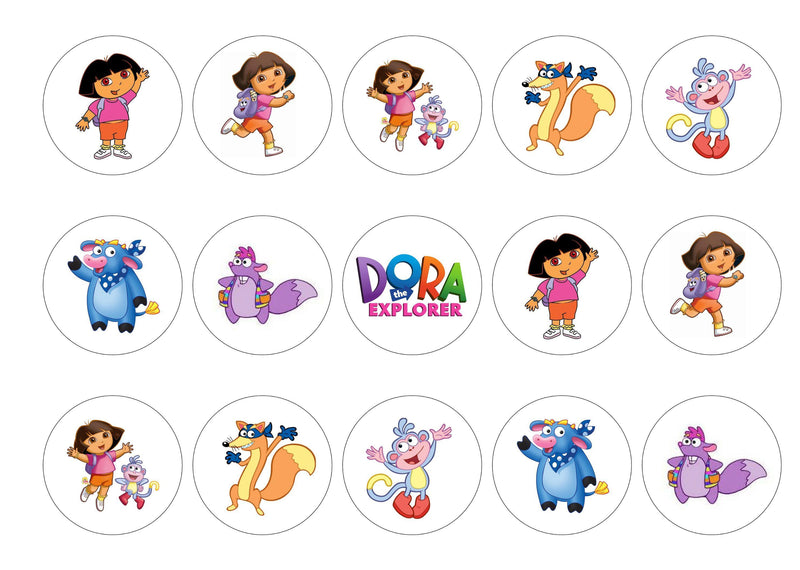 Printed edible cupcake toppers with images of Dora the Explorer