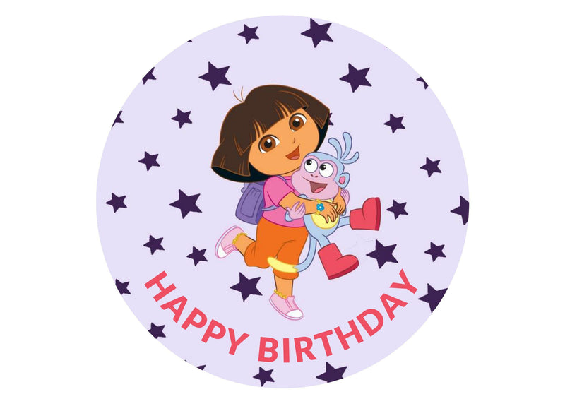Printed edible cake toppers with image of Dora the Explorer