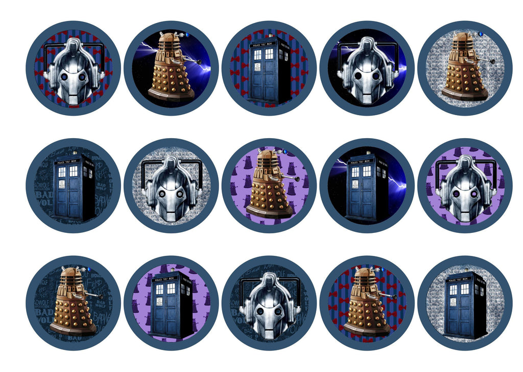 Printed edible cupcake toppers with Dr Who images