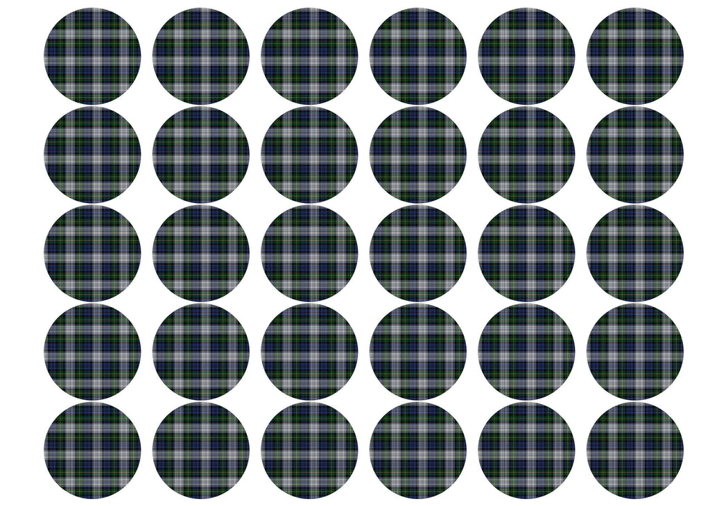 Printed edible cupcake toppers with dress Gordon tartan