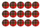 Printed edible cupcake toppers with Drummond tartan