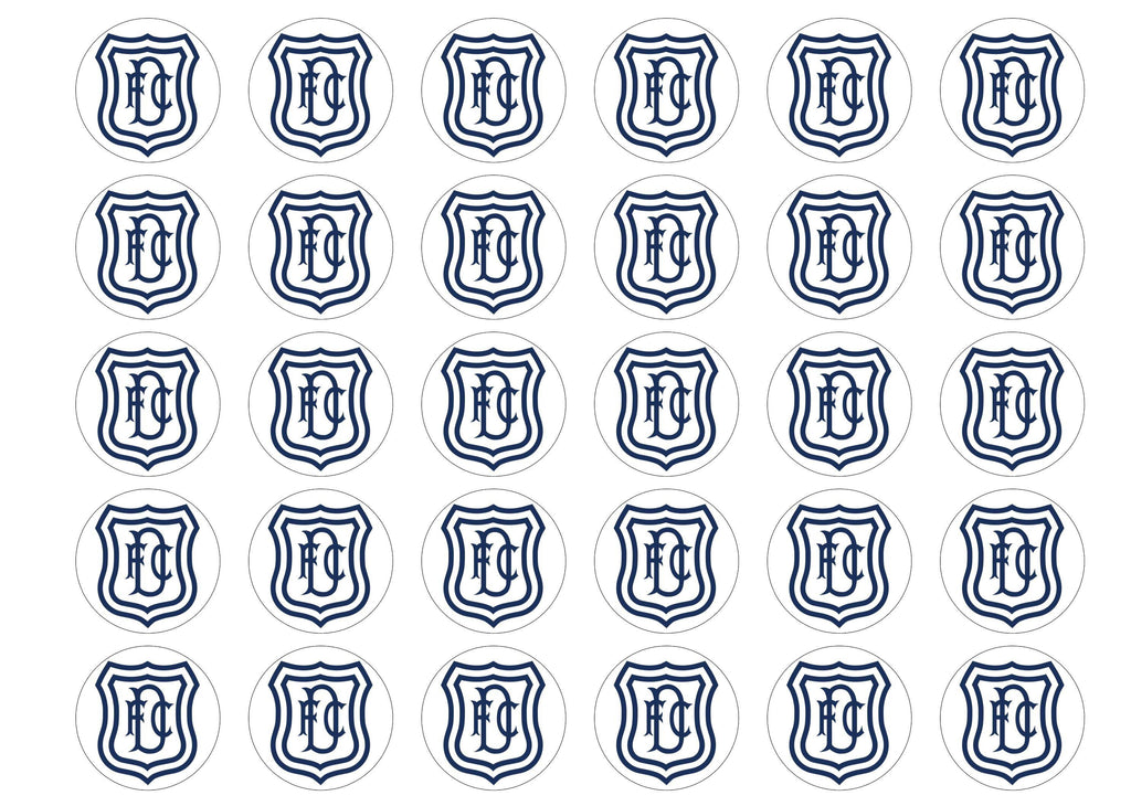 Edible cupcake toppers featuring the Dundee FC Badge