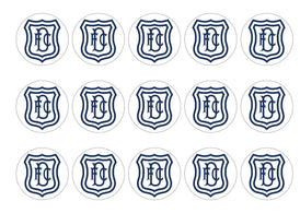 Printed cupcake toppers featuring the Dundee FC Badge